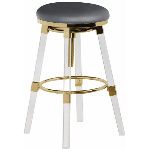 Acrylic Legs Grey Seat Adjustable Stool Gold Accents Set 2