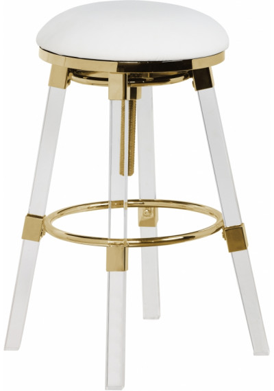 Acrylic Legs White Seat Adjustable Stool Gold Accents Set 2
