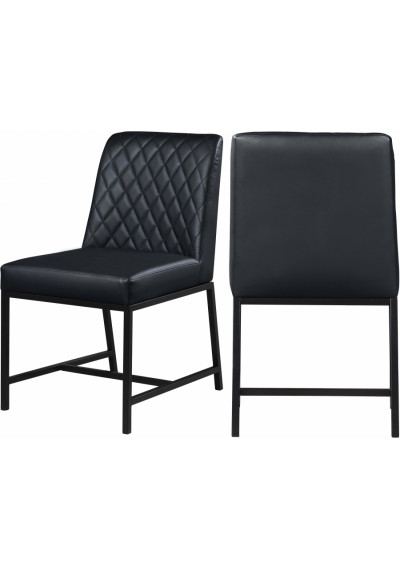 Black Faux Leather Diamond Quilted Dining Chair Black Legs Set of 2