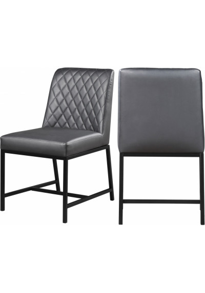 Grey Faux Leather Diamond Quilted Dining Chair Black Legs Set of 2