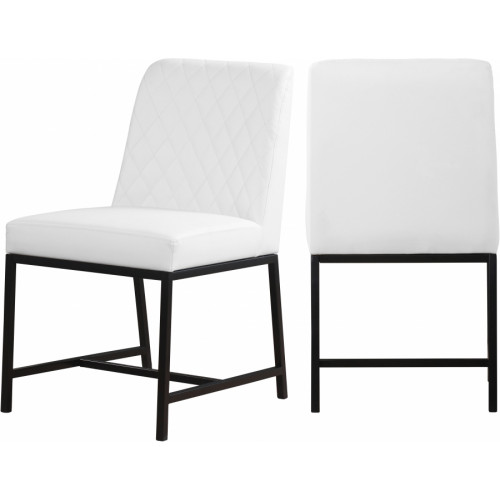 White Faux Leather Diamond Quilted Dining Chair Black Legs Set of 2