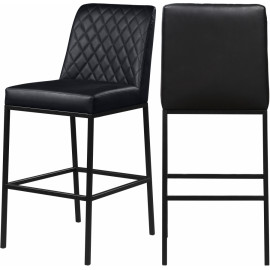 Black Faux Leather Diamond Quilted Bar Stool Black Legs Set of 2
