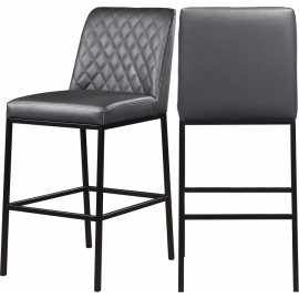Grey Faux Leather Diamond Quilted Bar Stool Black Legs Set of 2