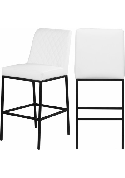 White Faux Leather Diamond Quilted Bar Stool Black Legs Set of 2