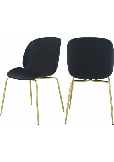 Black Mid Century Accent Dining Chair Gold Legs Set of 2