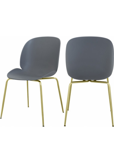 Grey Mid Century Accent Dining Chair Gold Legs Set of 2