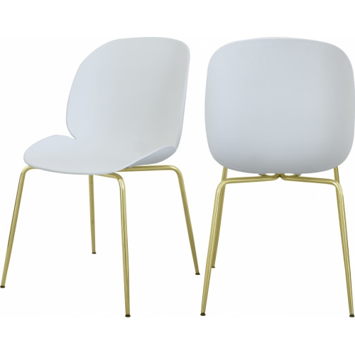 White Mid Century Accent Dining Chair Gold Legs Set of 2