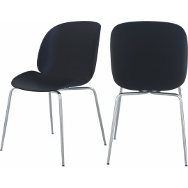 Black Mid Century Accent Dining Chair Silver Legs Set of 2