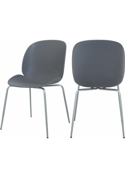 Grey Mid Century Accent Dining Chair Silver Legs Set of 2