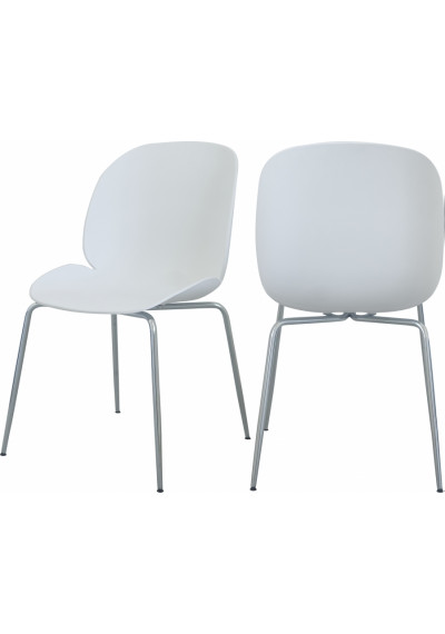 White Mid Century Accent Dining Chair Silver Legs Set of 2