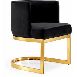Black Velvet Barrel Shape Gold Base Dining Accent Chair