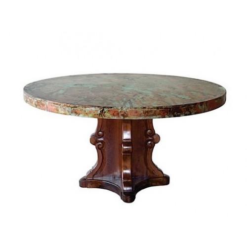 Designer Carved Base Hammered Oxidized Copper Top Dining Table