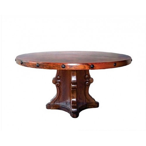 Carved Wood Base Hand Hammered Copper Top Dining Table