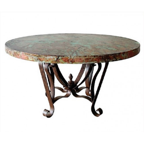 Designer Oxidized Copper Top Dining Table Wrought Iron Base 3 Sizes
