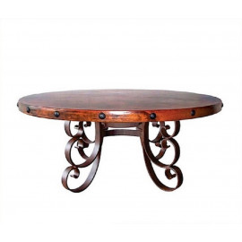 Designer Hammered Copper Top Dining Table Wrought Iron Base 3 Sizes