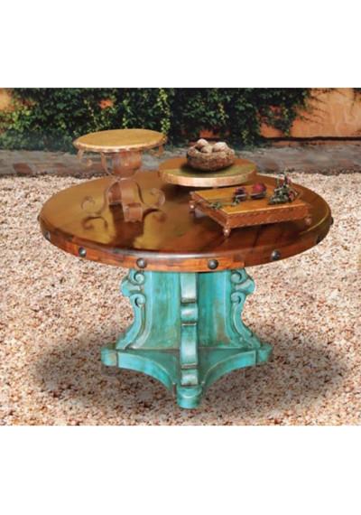 Designer Carved Turquoise Base Hammered Copper Top Dining Table