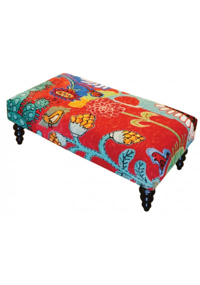 Colorful Blooming Cactus Ottoman Bench Hand Hooked Rug