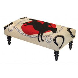 Cowboy Western Ottoman Bench Hand Hooked Rug