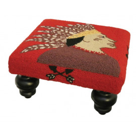 Southwestern Indian Scout Ottoman Footstool Hand Hooked Rug