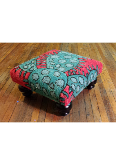 Colorful Blooming Cactus Ottoman Footstool Hand Hooked Rug