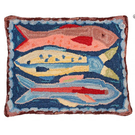 Lake House Fish Pillow Hand Hooked Rug
