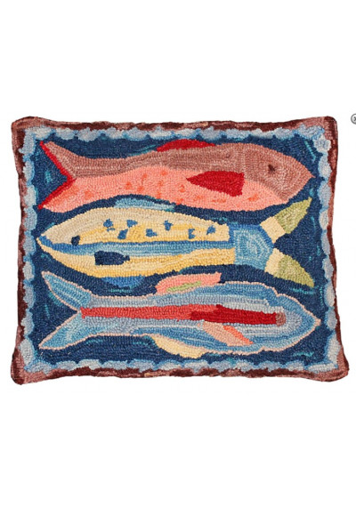 Lake House Fish Pillow Hand Hooked Rug