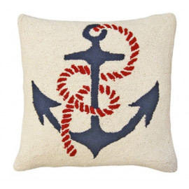 Ships Anchor Throw Pillow Hand Hooked Rug