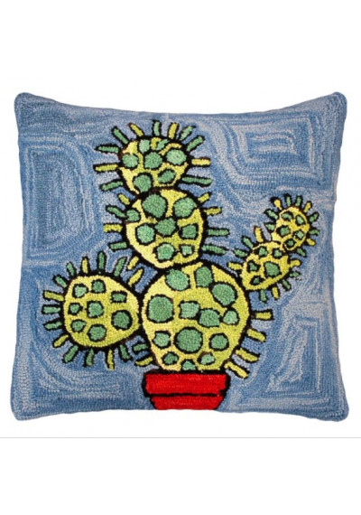 Colorful Blooming Prickly Cactus Pillow Hand Hooked Rug