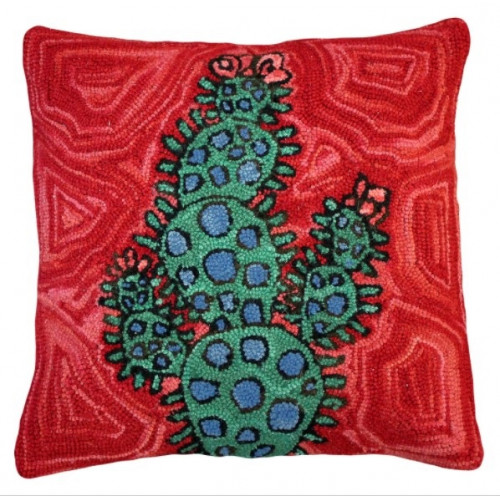 Colorful Blooming Cactus Pillow Hand Hooked Rug