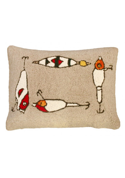 Fishing Rod & Lure Throw Pillow Hand Hooked Rug