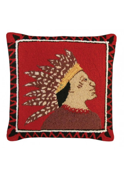 Southwestern Indian Scout Pillow Right Hand Hooked Rug