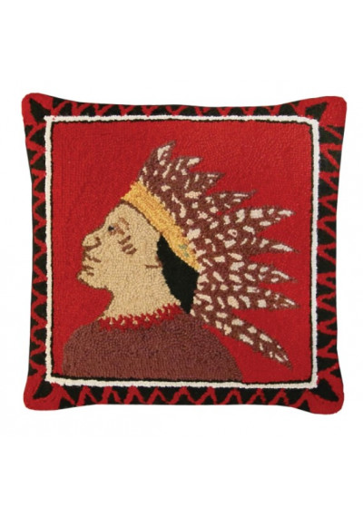 Southwestern Indian Scout Pillow Left Hand Hooked Rug