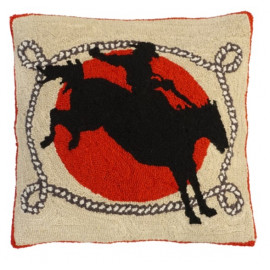 Cowboy Western Pillow Hand Hooked Rug