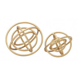 Gold Aluminum Ringed Orbs Set 2