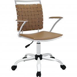 Brown Faux Leather Woven Back Swivel Office Chair