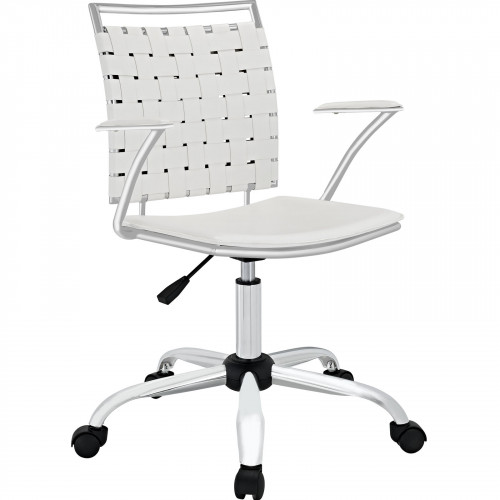 White Faux Leather Woven Back Swivel Office Chair