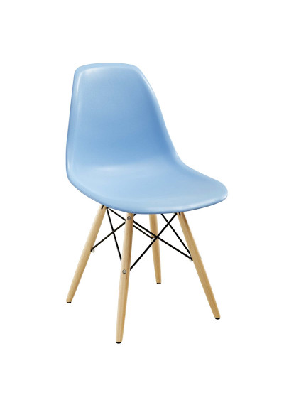 Light Blue Molded Plastic Mid Century Accent Dining Chair