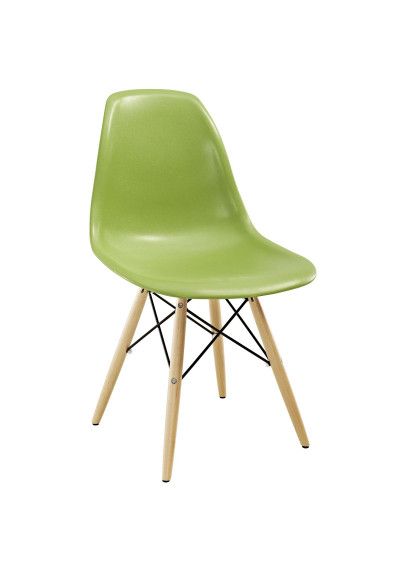 Bright Green Molded Plastic Mid Century Accent Dining Chair