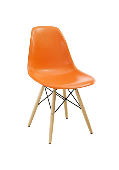 Orange Molded Plastic Mid Century Accent Dining Chair