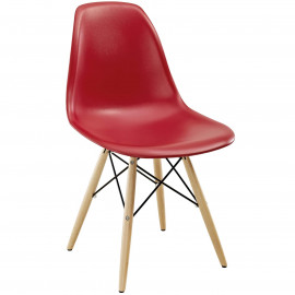 Dark Red Molded Plastic Mid Century Accent Dining Chair
