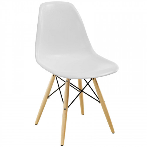 White Molded Plastic Mid Century Accent Dining Chair