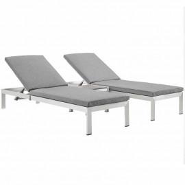 3 Piece Silver Aluminum Patio Chaise & Table Set Grey Cushions