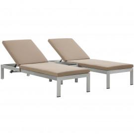 3 Piece Silver Aluminum Patio Chaise & Table Set Latte Cushions