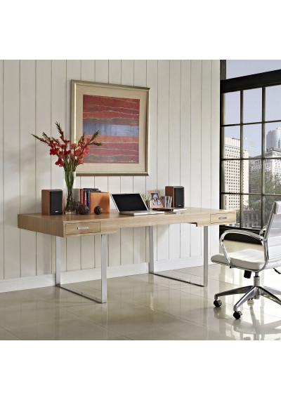 Natural Wood Color Silver Base Simple Clean Modern Desk