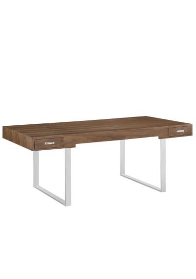 Walnut Silver Base Simple Clean Modern Desk