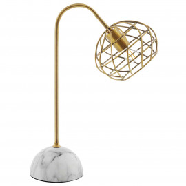 Gold Wire Cage Shade White Base Table Desk Lamp