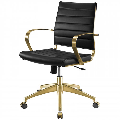 Black Faux Leather Lumbar Support Swivel Gold Base Office Chair