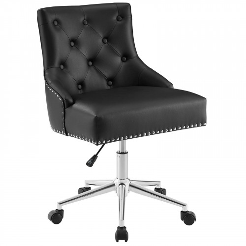 Black Faux Leather Button Tufted Swivel Office Chair