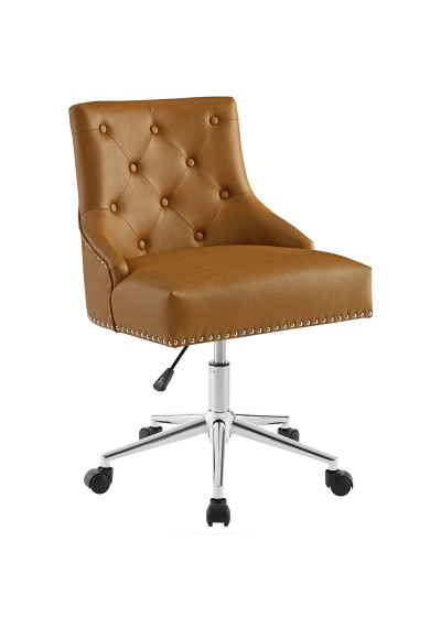 Brown Tan Faux Leather Button Tufted Swivel Office Chair
