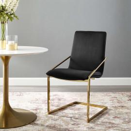 Black Velvet Gold Base Sleek Angular Accent Dining Chair